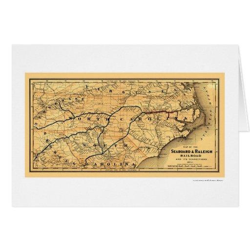Mapa 1874 del litoral y del ferrocarril de Raleigh Felicitacion