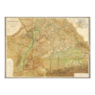 """Mapa 1875 de República Federal de Alemania del sur Invitación 5"""" X 7"""""""