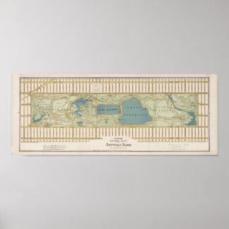Mapa 1875 del Central Park Póster
