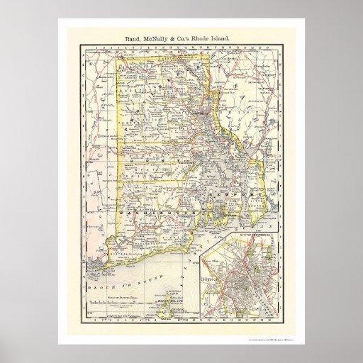 Mapa 1875 del ferrocarril de Rhode Island Póster