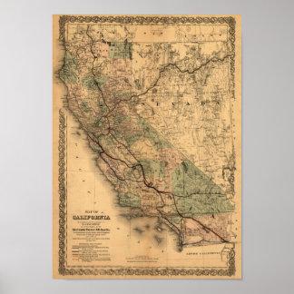 Mapa 1876 de California del vintage Poster