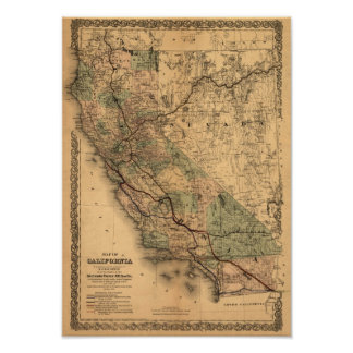 Mapa 1876 de California del vintage Póster