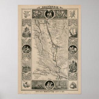 Mapa 1876 de California Posters