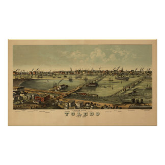 Mapa 1876 de Toledo Ohio del vintage Póster