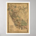Mapa 1876 del ferrocarril de California y de Nevad Póster