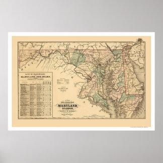 Mapa 1876 del ferrocarril de Maryland y de Delawar Posters