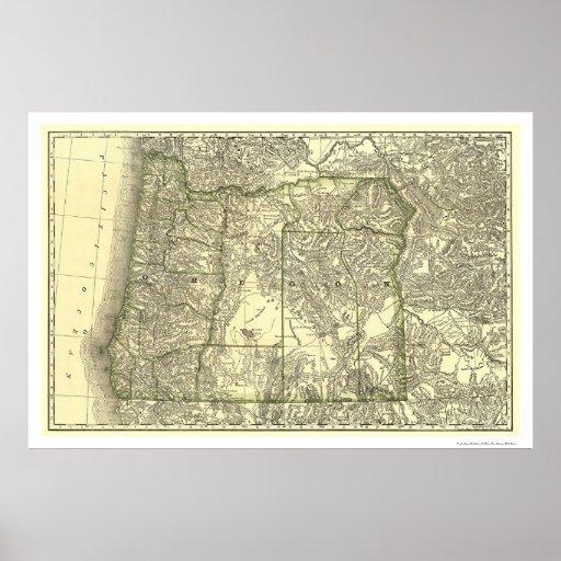 Mapa 1876 del ferrocarril de Oregon Posters
