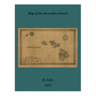 Mapa 1876 - islas hawaianas de Hawaii del vintage Postales
