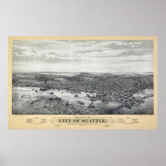 MAPA 1878 DE SEATTLE IMPRESIONES