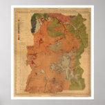 Mapa 1878 del parque de Yellowstone Póster