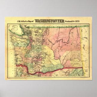 Mapa 1878 del territorio de Washington del vintage Póster