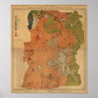 Mapa 1878, Wyoming del parque de Yellowstone del v Poster
