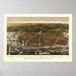 Mapa 1879 de la opinión del ojo de pájaro de Brook Posters