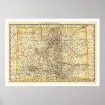 Mapa 1879 del ferrocarril de Colorado Impresiones