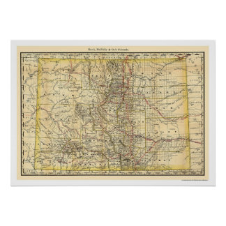 Mapa 1879 del ferrocarril de Colorado Póster