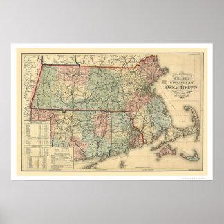 Mapa 1879 del ferrocarril de Massachusetts Póster