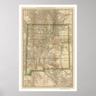 Mapa 1879 del ferrocarril de New México Póster
