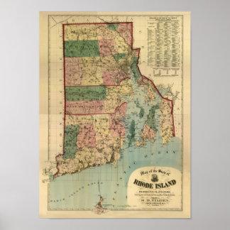 Mapa 1880 de Rhode Island del vintage Póster
