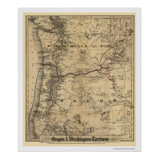 Mapa 1880 del ferrocarril de Oregon y de Washingto Poster