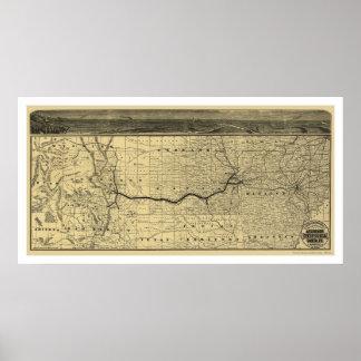 Mapa 1880 del ferrocarril del Topeka Santa Fé de A Póster
