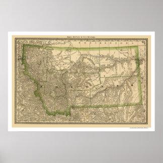 Mapa 1881 del ferrocarril de Montana Póster