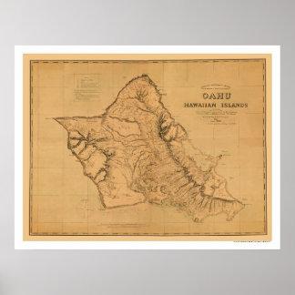 Mapa 1881 del ferrocarril de Oahu Hawaii Póster