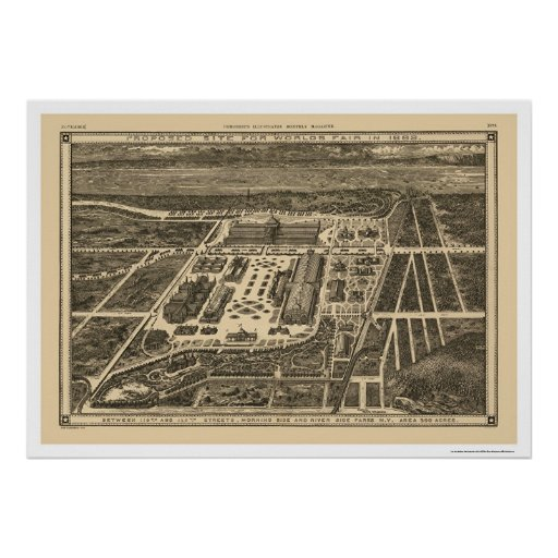 Mapa 1883 de la feria de mundos de Manhattan Nueva Posters