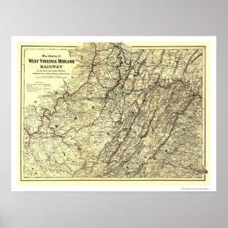 Mapa 1883 del ferrocarril de Virginia Occidental M Poster