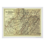 Mapa 1883 del ferrocarril de Virginia Occidental M Póster