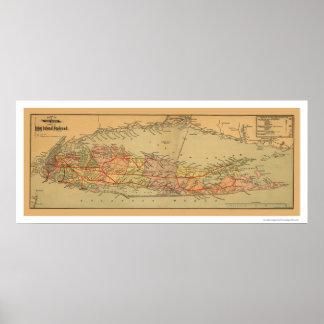 Mapa 1884 del ferrocarril de Long Island Póster