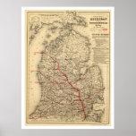 Mapa 1886 del tren de ferrocarril de Michigan Impresiones
