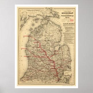 Mapa 1886 del tren de ferrocarril de Michigan Póster