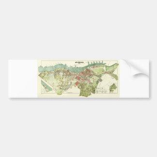 Mapa 1888 de Gothenburg Suecia de Ludvig Simon Pegatina Para Auto