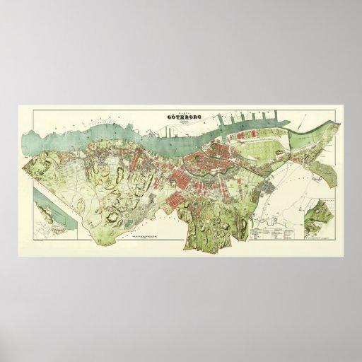Mapa 1888 de Gothenburg Suecia de Ludvig Simon Impresiones