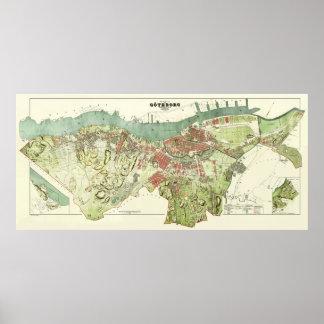 Mapa 1888 de Gothenburg Suecia de Ludvig Simon Póster