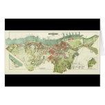 Mapa 1888 de Gothenburg Suecia de Ludvig Simon Tarjeta De Felicitación