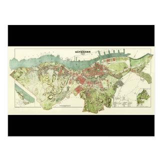 Mapa 1888 de Gothenburg Suecia de Ludvig Simon Postal