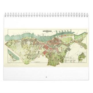 Mapa 1888 de Gothenburg Suecia de Ludvig Simon Calendario De Pared