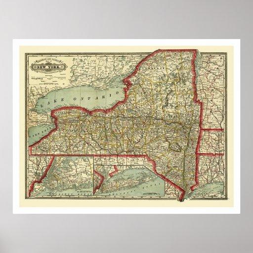 Mapa 1888 de la ciudad y de Nueva York del ferroca Póster