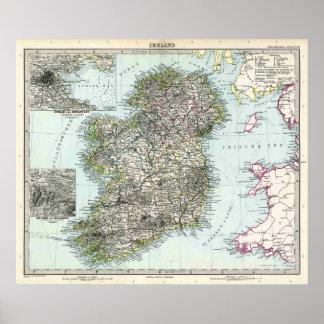 Mapa 1891 de Irlanda Impresiones