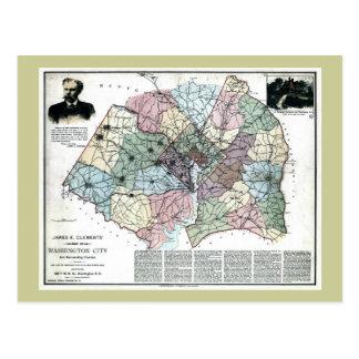 Mapa 1891 de la ciudad de Washington y del país ci Postal