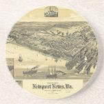 Mapa 1891 del condado de Virginia Warwick de las n Posavasos Cerveza
