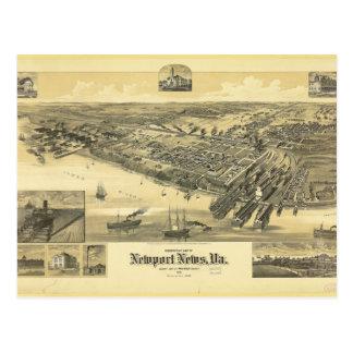 Mapa 1891 del condado de Virginia Warwick de las Postal