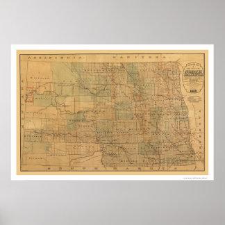 Mapa 1892 del ferrocarril de Dakota del Norte Posters