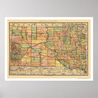 Mapa 1892 del ferrocarril de Dakota del Sur Posters