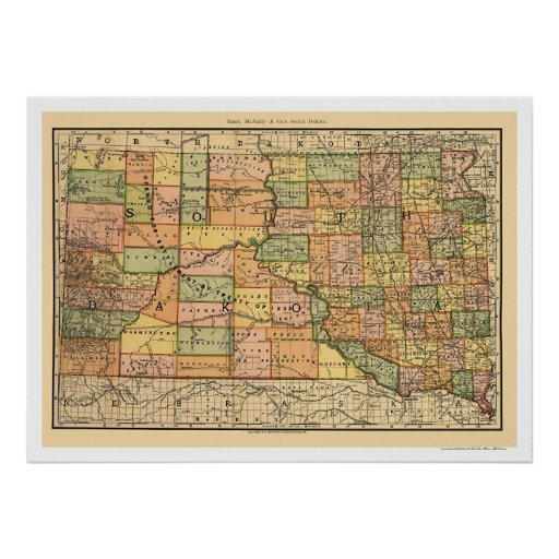 Mapa 1892 del ferrocarril de Dakota del Sur Póster