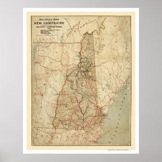 Mapa 1894 del ferrocarril de New Hampshire Póster