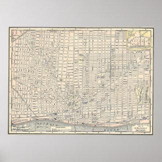 Mapa 1895 de Detroit Póster