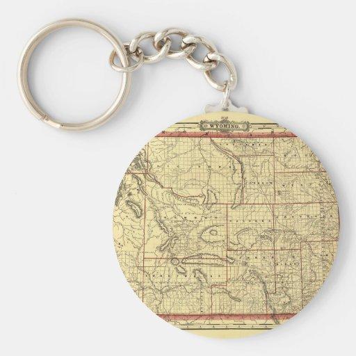 Mapa 1895 de Wyoming Llavero Redondo Tipo Pin