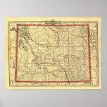 Mapa 1895 de Wyoming Posters